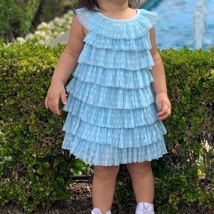 Toddler Blue Ruffle Polka Dot and Tulle Dress